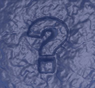 question mark on blue structure