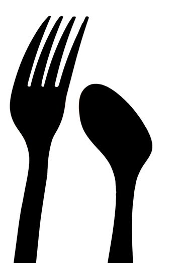 A sihouette of a spoon and a fork.