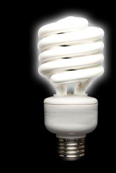 A compact energy saving florescent light bulb.