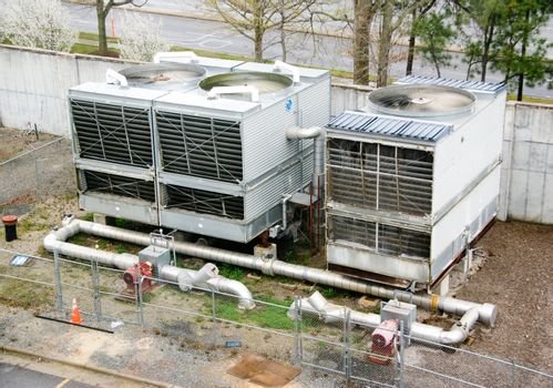 A huge outdoor industrial air handling unit.