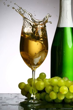 champagne splash grape and green bottle