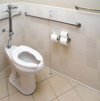A patient bathroom in a private hospital room.