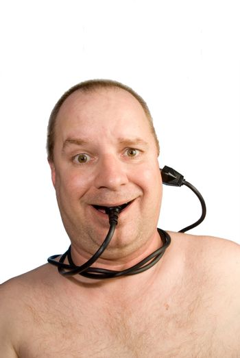 A man connected to the information network.