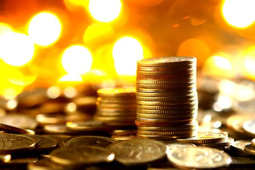 magic coins on bokeh background
