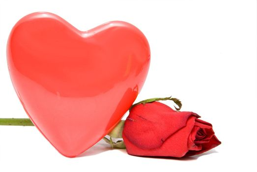 A heart and a rose ready for Valrntine's Day.