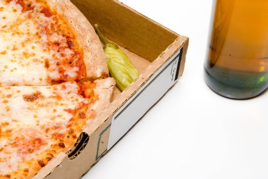 A slice of pizza and an ice cold beer.