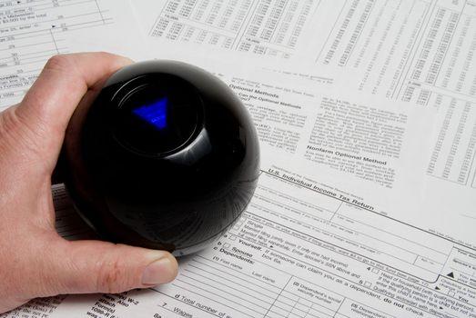 Using a magic ball to predict a tax return outcome.