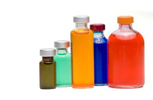 A collection of prescription medicine vials.