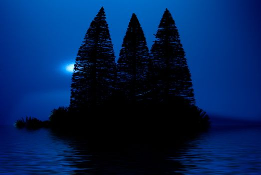A moon lit island in a lake at night.