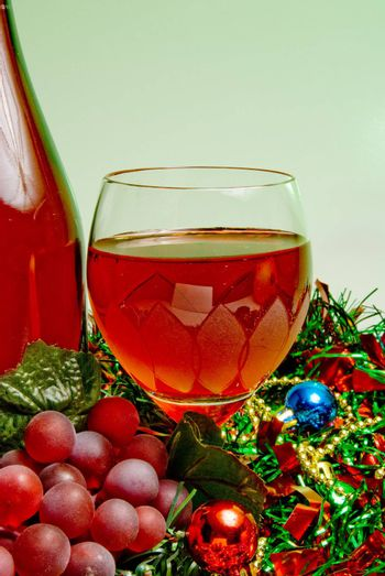 A glass of Christmas wine for the holidays.