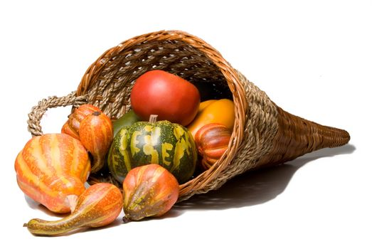 The traditional Thanksgiving harvest celebration wicker cornucopia.