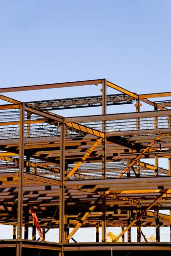 The steel frame of a building under construction.