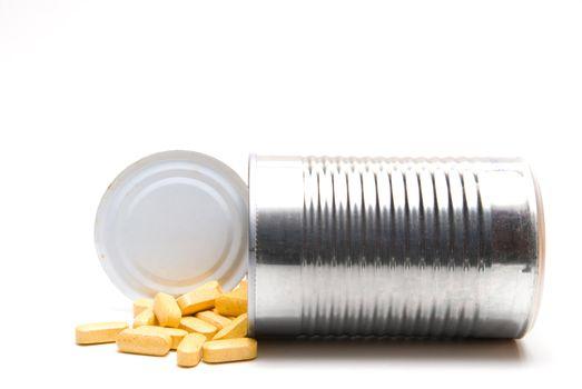 A tin can full of prescription medication.