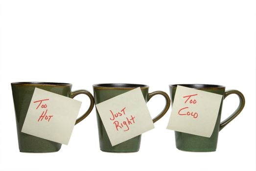 Three cups with notes: too hot, just right, too cold.