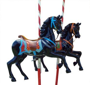 Two Black Merry-Go-Round Horses
