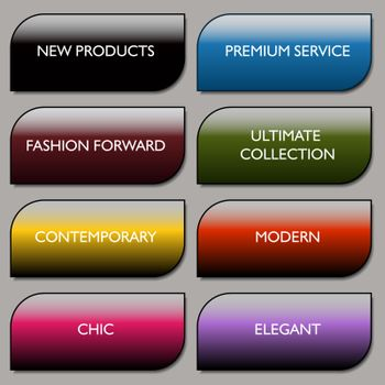 An image of a stylish communication fashion buttons.