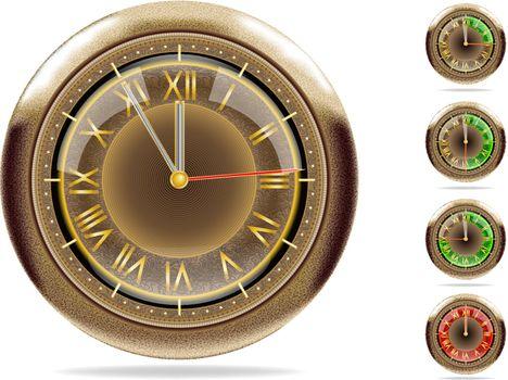 5 (or 1) minute till 12. Bronze clocks set #2 | Vector