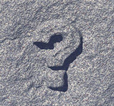 question mark rock - 3d illustration