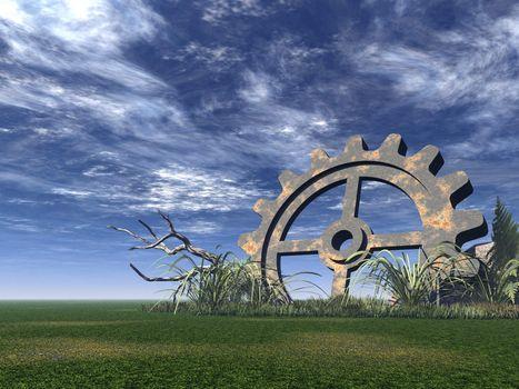 rusty gear on a green field - 3d illustration