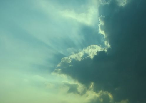 Sky with clouds, thunderstorm approaching, usable as background