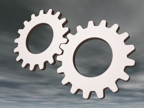 two gears on cloudy sky - 3d illustration