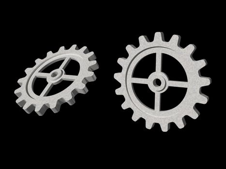 two gears on black background - 3d illustration