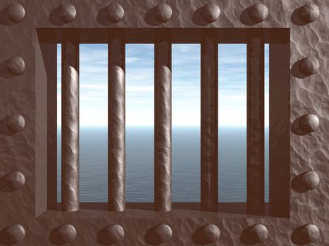 3d illustration - prison window with view on the ocean