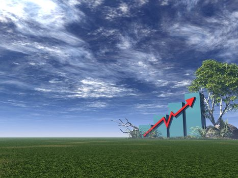 Business Graph with arrow  - 3d illustration