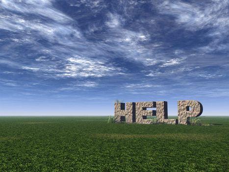 help rock on a green field - 3d illustration