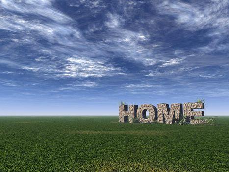 home rock on green field - 3d illustration