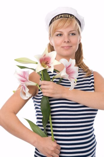 The fine pregnant woman with a flower