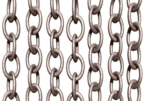 metal chains on white background - 3d illustration