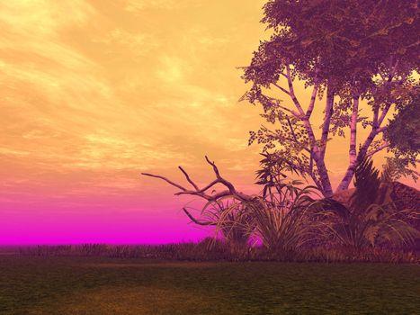 landscape with strange light - 3d illustration