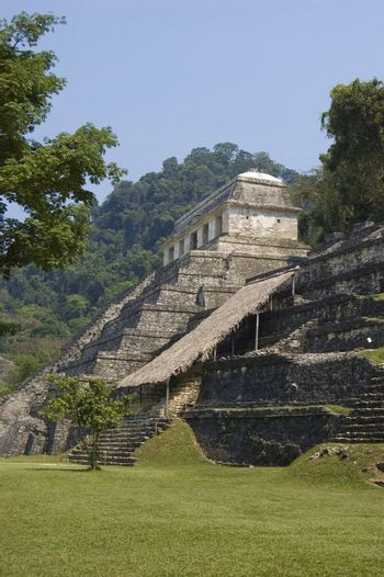 Temple of the Inscriptions in the mayan ruins at Palenque, Mexico