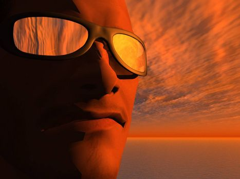 man face with sun glasses in the sunset - 3d illustration