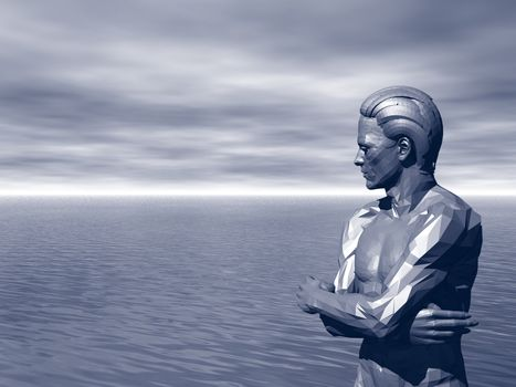 statue of a man is watching over the ocean - 3d illustration
