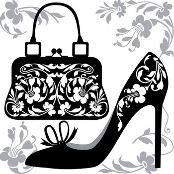 Black silhouettes of women shoe and bag with ornaments, on white background.