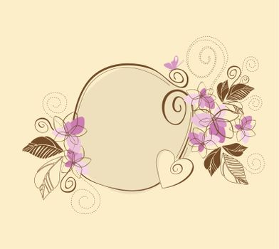 Cute pink and brown floral frame. This image is a vector illustration.
