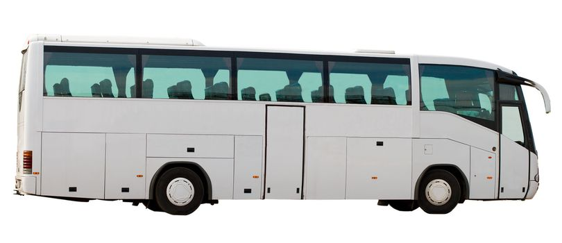 tourist's coach, isolated on white