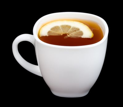 cup of tea with lemon, isolated on black