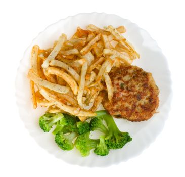 fried potatoes with cutlet and broccoli on plate, isolated