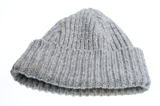 gray woolen winter hat, isolated on white