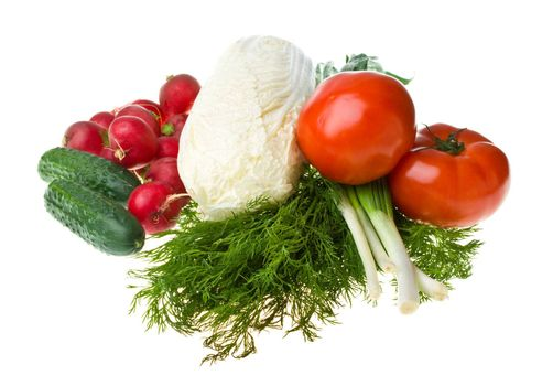 heap of various vegetables, isolated on white