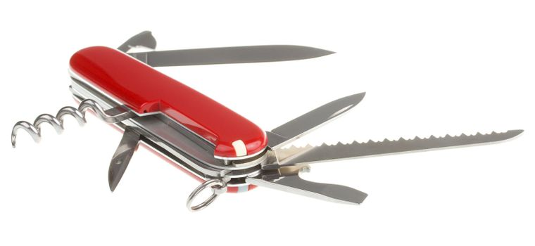 close-up opened penknife, isolated on white