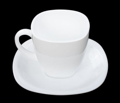 perfect empty cup of coffee, isolated on black