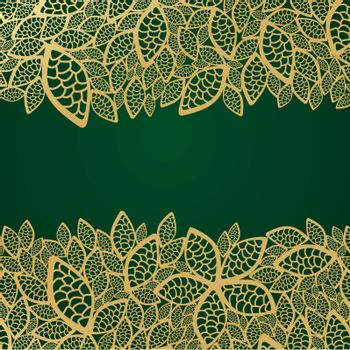 Golden leaf lace on green background. This image is a vector illustration. Please visit my portfolio for more similar illustrations.