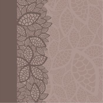 Leaf pattern border and background. This image is a vector illustration.