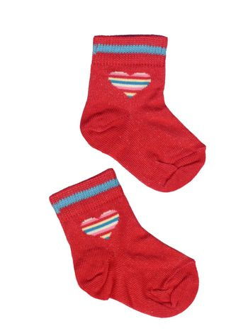 pair of red toddlers socks isolated over white