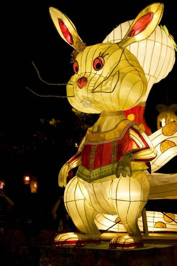 Image of a Chinese animal zodiac lantern depicting a rabbit seen at the Dong Zen Chinese Temple in Malaysia during the Chinese New Year celebration on 26th January 2009.