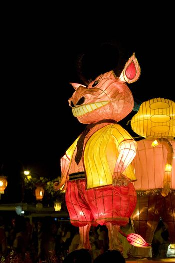 Image of a Chinese animal zodiac lantern depicting an ox seen at the Dong Zen Chinese Temple in Malaysia during the Chinese New Year celebration on 26th January 2009.